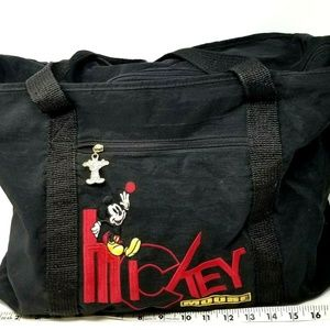 Micky Mouse Disney Tote Bag Black Zipper Travel